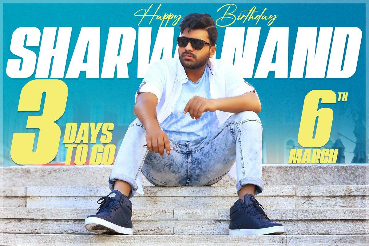 Young and talented Hero @ImSharwanand Birthday in 3 days 🥳  This 2021 packed up with 3 different genre movies #Sreekaram #MahaSamudram #Sharwa30 🤟  #Sharwanand  #AdvHBDSharwanand