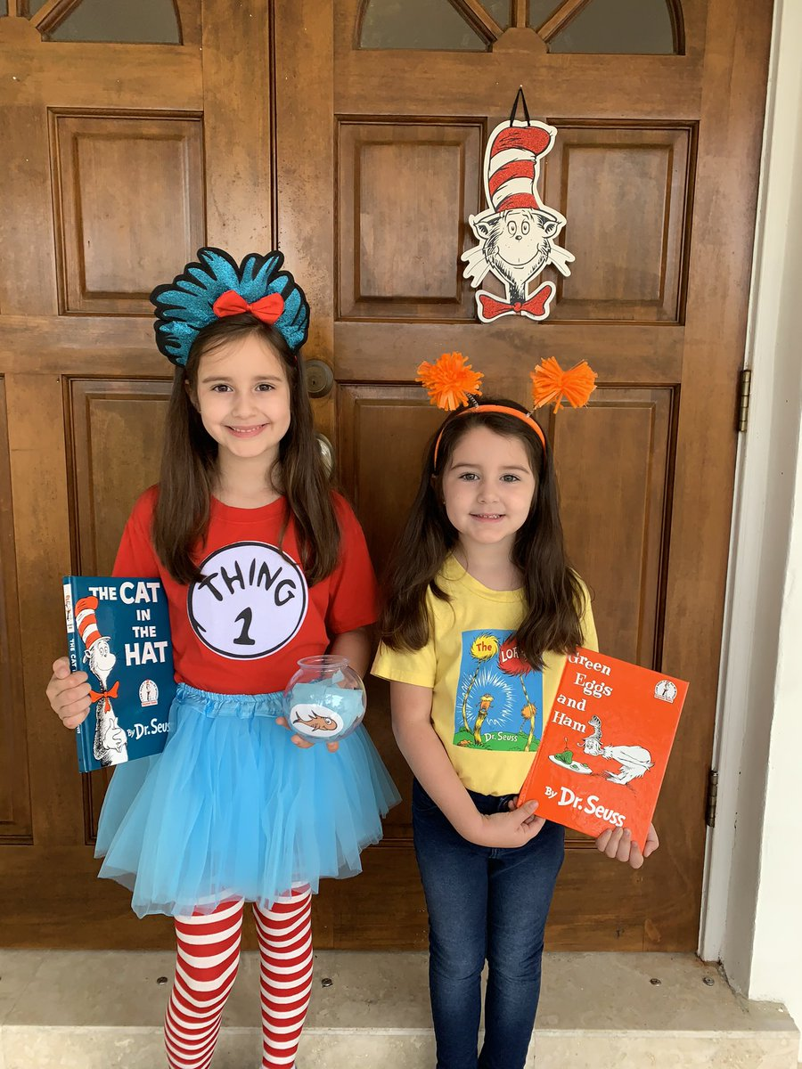 """Happy #NationalReadAcrossAmericaDay 📚It is also Dr. Seuss week at school. Sofia is dressed up as """"Thing 1"""" and Elise is dressed up in """"The Lorax"""" theme. #ReadAcrossAmericaDay is dedicated to encouraging kids to read more. @CBSMiami #cbs4"""