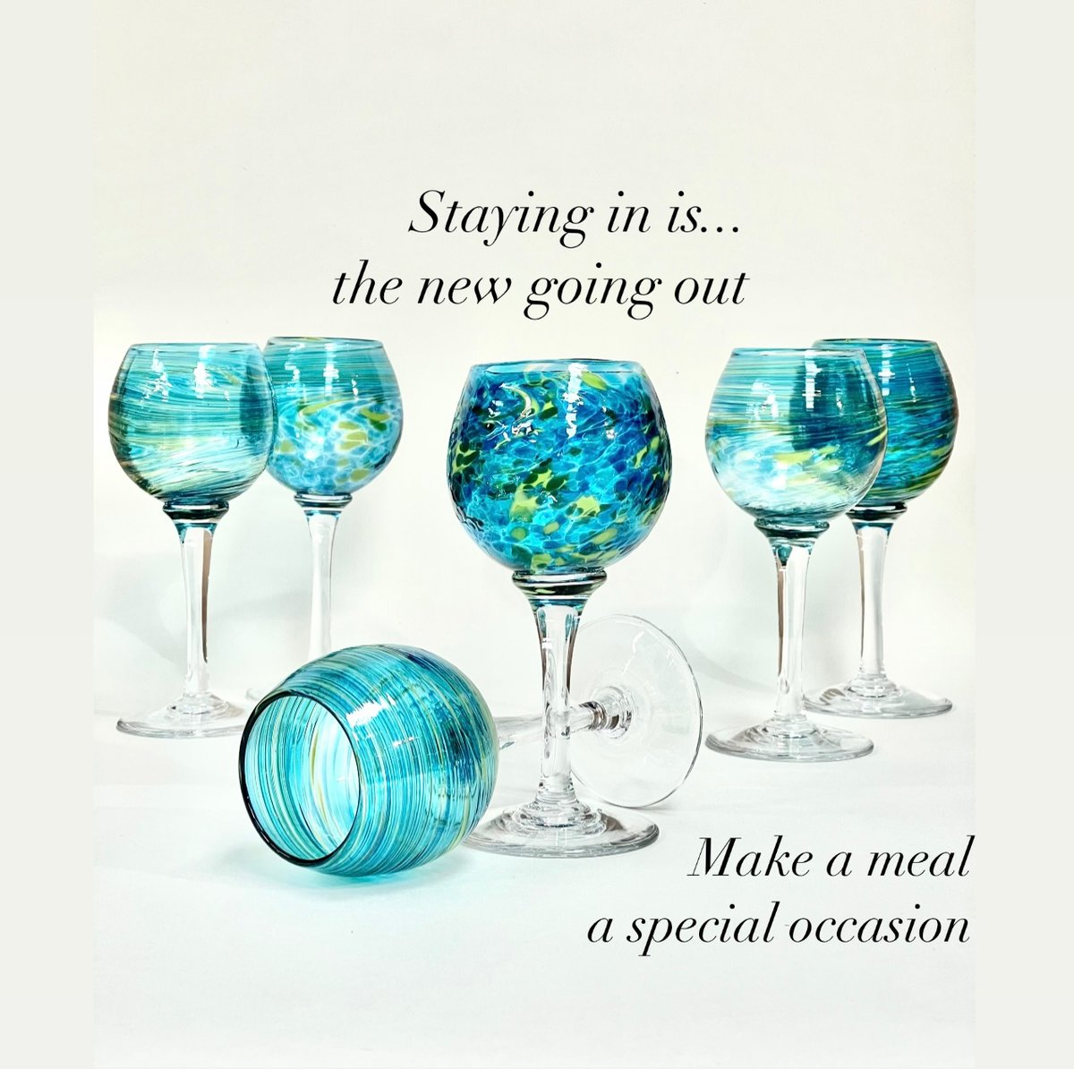 Lockdown Dining can be a special occasion with Bath Aqua Glass!    #Handblown in our glass blowing studio Bath   #love #gift  #handmade #instagood #luxury #giftideas #shopsmall #beautiful #lockdowndining #wineoclock #winetime