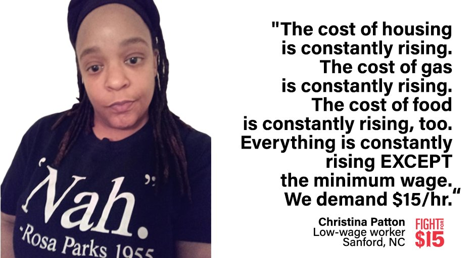 We can't take it anymore. $7.25/hr doesn't cover the bills. It doesn't put food on the table. It doesn't allow us to live with basic dignity. $15/hr minimum wage for everyone. #Fightfor15 #RaisetheWage
