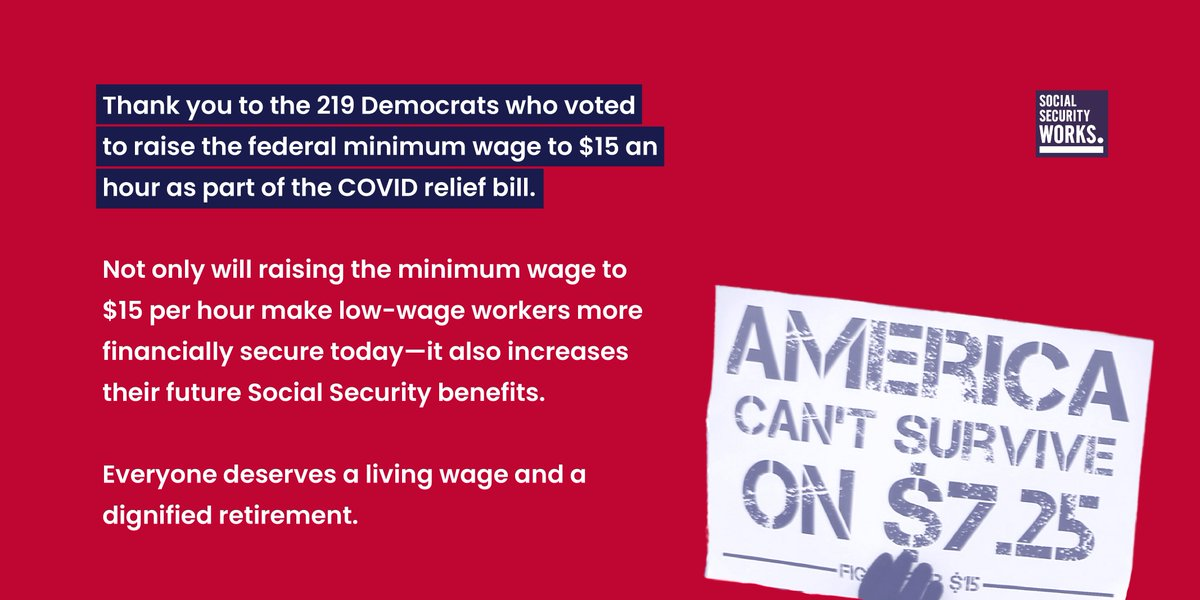 Thank you to the 219 Democrats who voted to raise the federal minimum wage to $15 an hour as part of the COVID relief bill.  It's long past time to #RaiseTheWage.   #FightFor15