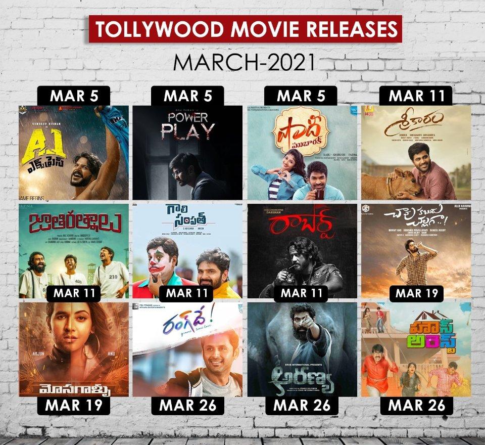 Upcoming Telugu Movie Releases in #March 🎞️  March 5th  #A1Express  #PowerPlay  #ShaadiMubarak   March 11th  #Sreekaram  #JathiRatnalu  #GaaliSampath  #Roberrt   March 19th  #chavukaburuchallaga  #Mosagallu   #Tollywood #TeluguCinema #CelebrateCinema #TeluguMovies