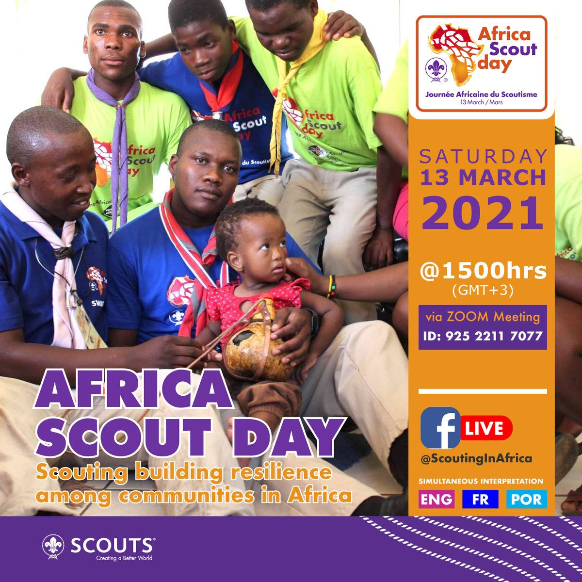#Scouts in Africa showed its strength, resilience and ingenuity in turning challenges of COVID-19 into opportunities for community service. 💪 👍  Join us for a virtual #AfricaScoutDay celebration on 13 March 2021 via Zoom:  (Meeting ID: 925 2211 7077)