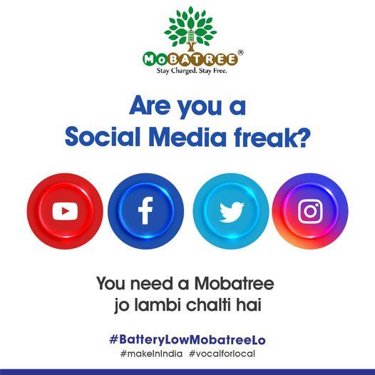 Who like social networking they need MoBatree.  #mobatree #goforit #bestproducts #mobilebattery #batterylowmobatreelo🔋 #yehlambichalegi #socialmediafreaks #buynow #ordernow‼️ #allmodelsavailable✅ #staycharged⚡️#vocalforlocal #MakeInIndia