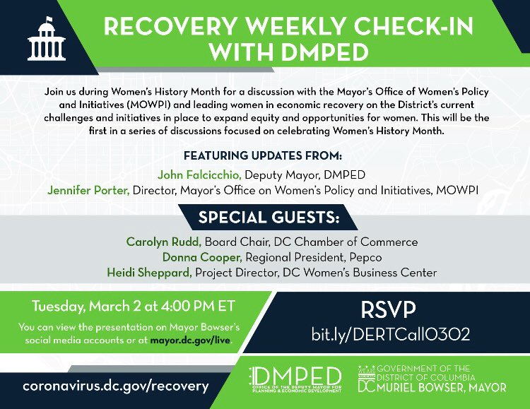 #WomensHistoryMonth is in full swing & we're excited to be joining @DMPEDDC today at 4pm for a special edition of the economic Recovery Weekly Check-In. Join the conversation as we chat w/ District ladies who've been leading the way! Link in bio! 💜💚
