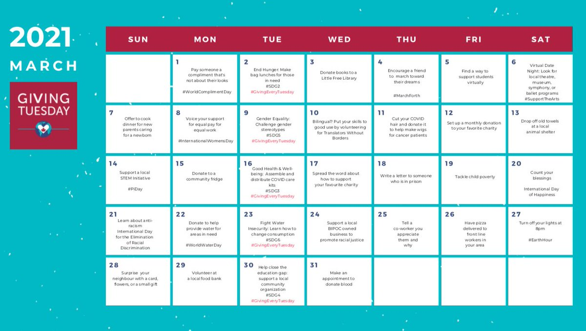 It's a new day, a new week and a new month. Take a look at our latest #givingtuesdayca generosity calendar for some ideas of how to give back this March! 💕  #givingeverytuesday #mardijedonne #tuesdaythoughts