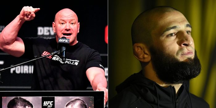 """Dana White claims Khamzat Chimaev (@KChimaev) isn't retiring, expects June return  White has claimed Chimaev was """"emotional"""" when he hinted at a retirement last night, and how he expects him to return in June. 👊 #UFC #MMA"""