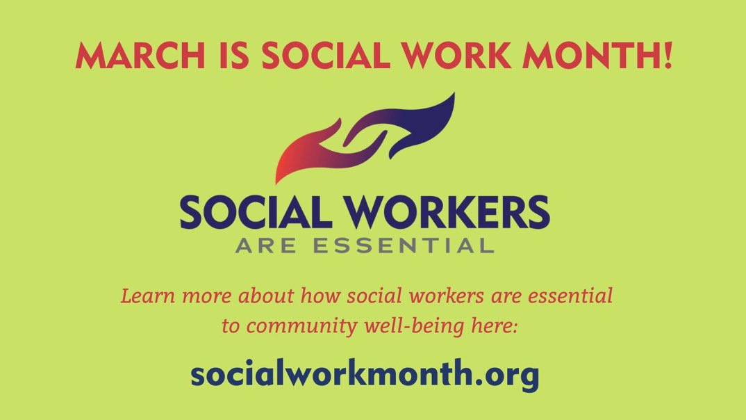 March is Social Workers Month! Thanks for all you do 😊 <a target='_blank' href='http://search.twitter.com/search?q=SchoolSocialWorkers'><a target='_blank' href='https://twitter.com/hashtag/SchoolSocialWorkers?src=hash'>#SchoolSocialWorkers</a></a> <a target='_blank' href='http://search.twitter.com/search?q=SocialWorkMonth'><a target='_blank' href='https://twitter.com/hashtag/SocialWorkMonth?src=hash'>#SocialWorkMonth</a></a> <a target='_blank' href='http://search.twitter.com/search?q=SocialWorkersAreEssential'><a target='_blank' href='https://twitter.com/hashtag/SocialWorkersAreEssential?src=hash'>#SocialWorkersAreEssential</a></a> <a target='_blank' href='http://search.twitter.com/search?q=SocialWorkMonth2021'><a target='_blank' href='https://twitter.com/hashtag/SocialWorkMonth2021?src=hash'>#SocialWorkMonth2021</a></a> <a target='_blank' href='http://twitter.com/APSVirginia'>@APSVirginia</a> <a target='_blank' href='https://t.co/wreUxlvRJb'>https://t.co/wreUxlvRJb</a>