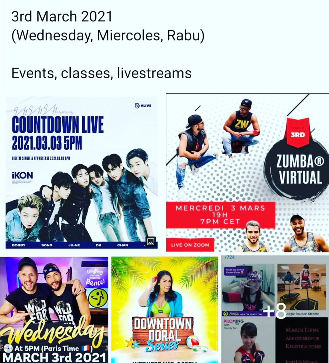 03.03.2021 (Wednesday, Miercoles, Rabu)    #03032021 #Wednesday #Miercoles #Rabu #classes #online #zoom #virtual #zumba #training #ZJ #ikon #whywhywhy #dancefitness #fitness  #workout #danceworkout #danceclass #partyathome #events #linlin  @LinLinPartyBabe