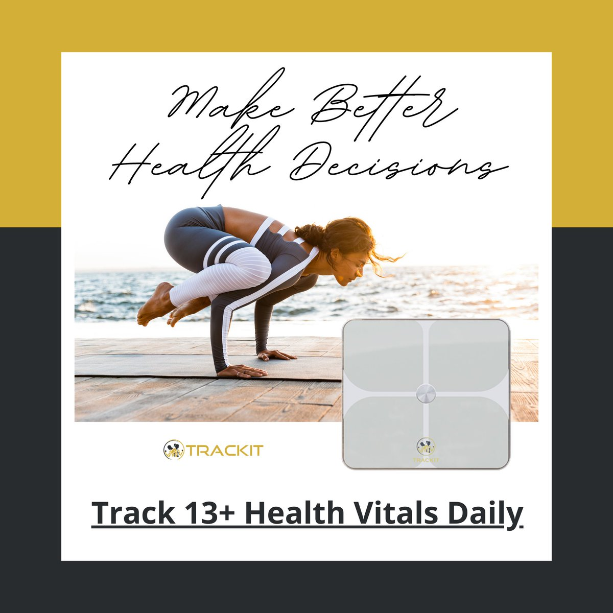 Make Better Health Decisions With The Trackit Smart Scale.    Track 13+ Health Vitals Daily.  🌐 -    #Trackit #exercise #fitness #workout #gym #motivation #health #fit #training #fitnessmotivation #warmupexercise #healthylifestyle #healthy #lifestyle