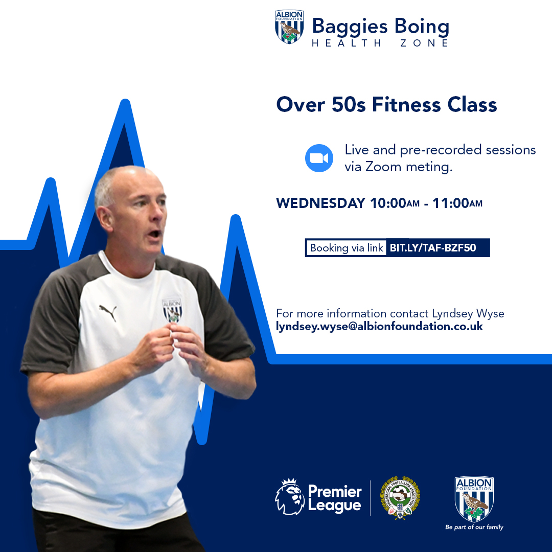 Are you over 50 and looking for some activities to keep you physically active?  If so, come and  join us on our Baggies Boing Zone sessions every Wednesday!  Sign Up 👉   #WBA
