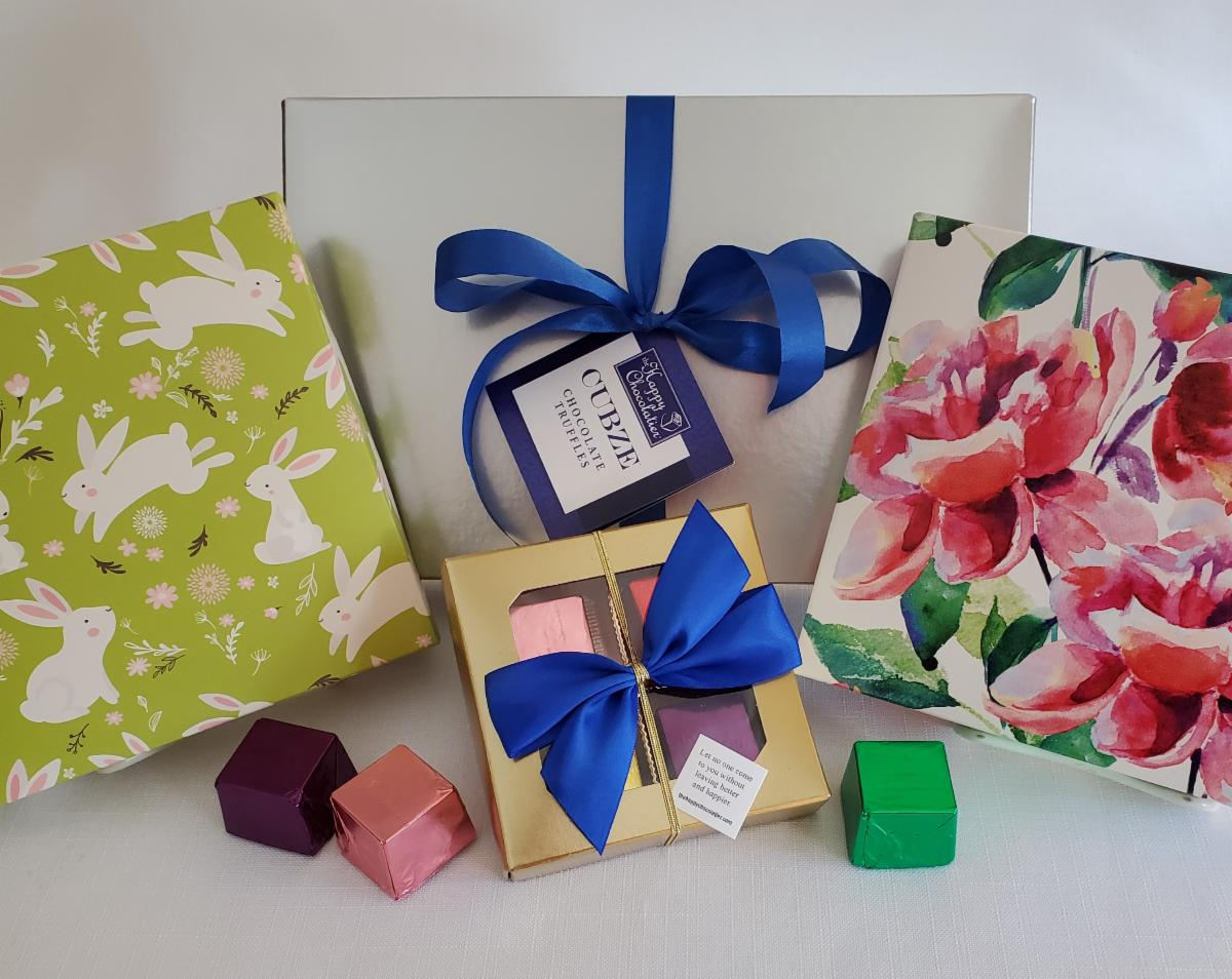 EASTER PREVIEW. Assortments of extra-large #chocolate truffle Cubze with #happy thoughts wrapped inside. #Family & #friends could use a little chocolate #happiness for #Easter! 5% of profits donated to @FeedingAmerica. Shop online to send a gift: