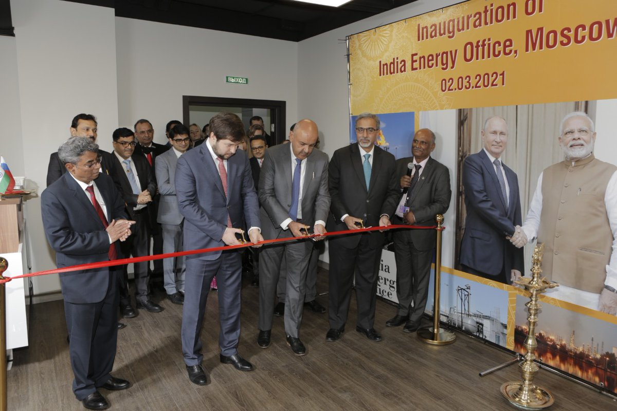#India opens India Energy Office in #Russia on 2nd March 2021,the inauguration ws done by Mr. Tarun Kapoor,Secretary, @PetroleumMin, Govt. of India alongwth H.E. Mr. Pavel Sorokin, Hon'ble Deputy Minister of Energy, Russian Federation & H.E. Mr.D. B.Venkatesh Varma @IndEmbMoscow
