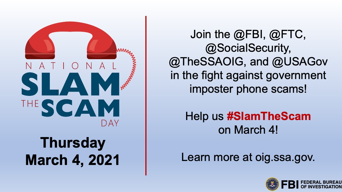National Consumer Protection Week is February 28 to March 6! Join @USAGov for a Twitter chat on Thursday, March 4 at 3 p.m. EST to learn how to combat fraud and scams. #NCPW2021 #SlamTheScamDay