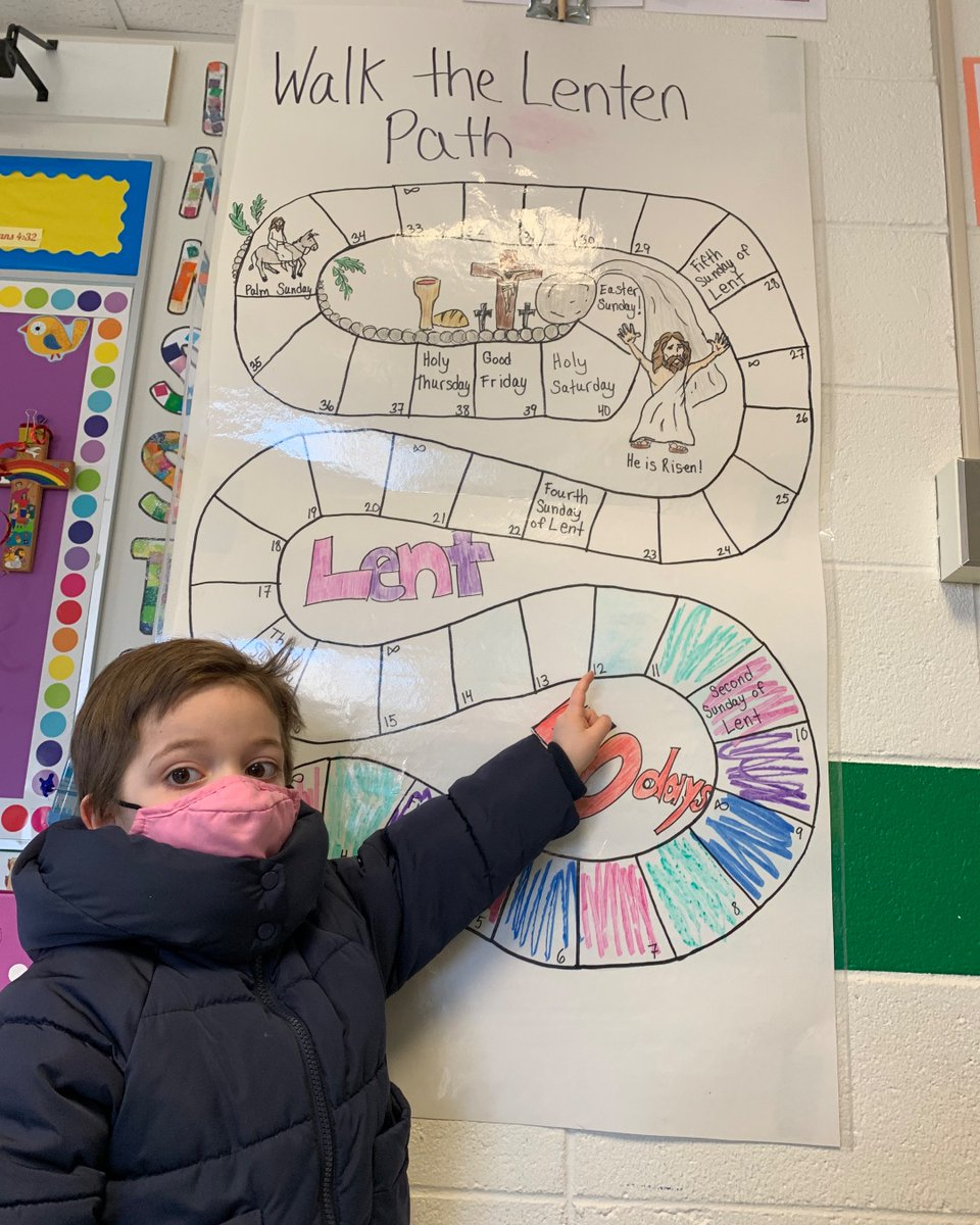 PK3 students are using their Lenten Path graphic as a way to observe Lent and count the days to Easter! #ADWcommUNITY #ILoveHolyCross #LentenJourney