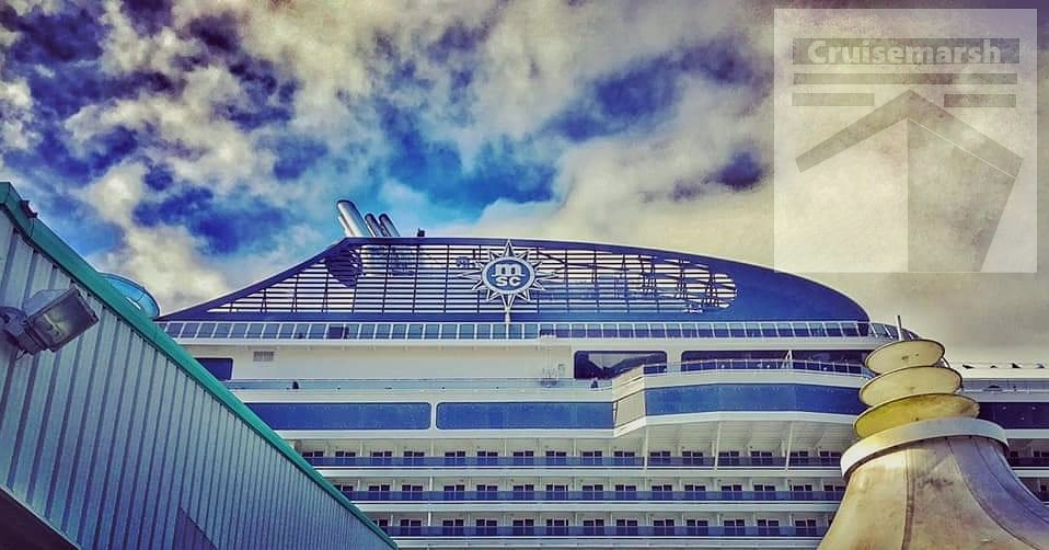 Funnel vision 🛳️📸⚓  The funnel of the then brand new @MSC_Cruises_UK #MSCBellissima following our disembarkation from our overnight stay on 2nd March 2019.   #msccruises #mscbellissima #meravigliaclass #beautyatsea #inauguration #southampton #march2019 #shipfunnel #cruisemarsh