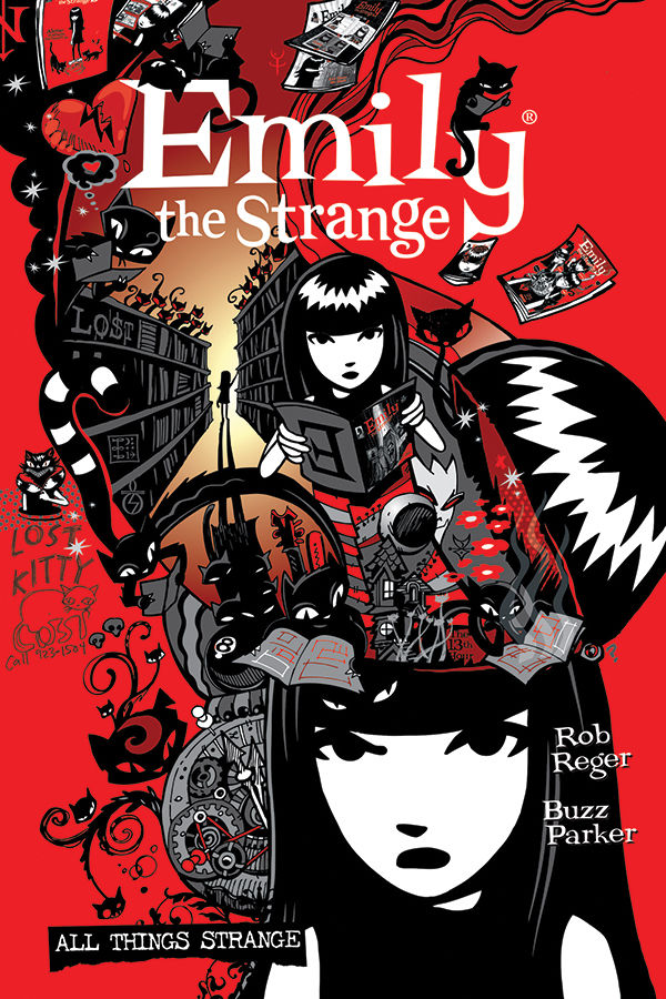 The Complete Emily the Strange is newly available in paperback! Now at book retailers, coming to comic shops March 24 (due to inclement weather shipping delays). Book details:   Collects all three volumes of @EmilyTheStrange, by @buzzparker @robreger.
