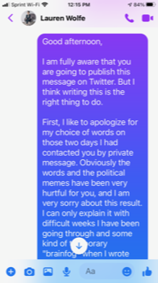 The German journalist who sent me harassing messages has sent an apology through another journo. I never received it the original because I'd blocked him. Here he claims that instead I suppressed it. Read his copious amount of gaslighting: