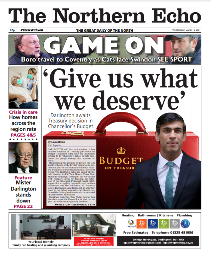 Wednesdays @TheNorthernEcho. As Darlington awaits the Chancellors decision on Treasury relocation, we give one final plea to @RishiSunak ahead of the biggest Budget in a generation. Full story from @lauraevenolan1 @lockwoodecho & @Echochrislloyd #Budget2021 @hendopolis