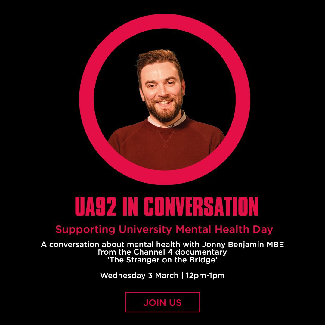 For World Mental Health Day, I'm honoured to be chatting to @MrJonnyBenjamin, @bethc0oper & Emily, with @UA92MCR part of the university mental health day. This is a topic that I'm very passionate about! Please share. 🙌🏾🙏🏾 link to the zoom: us02web.zoom.us/j/82290420424