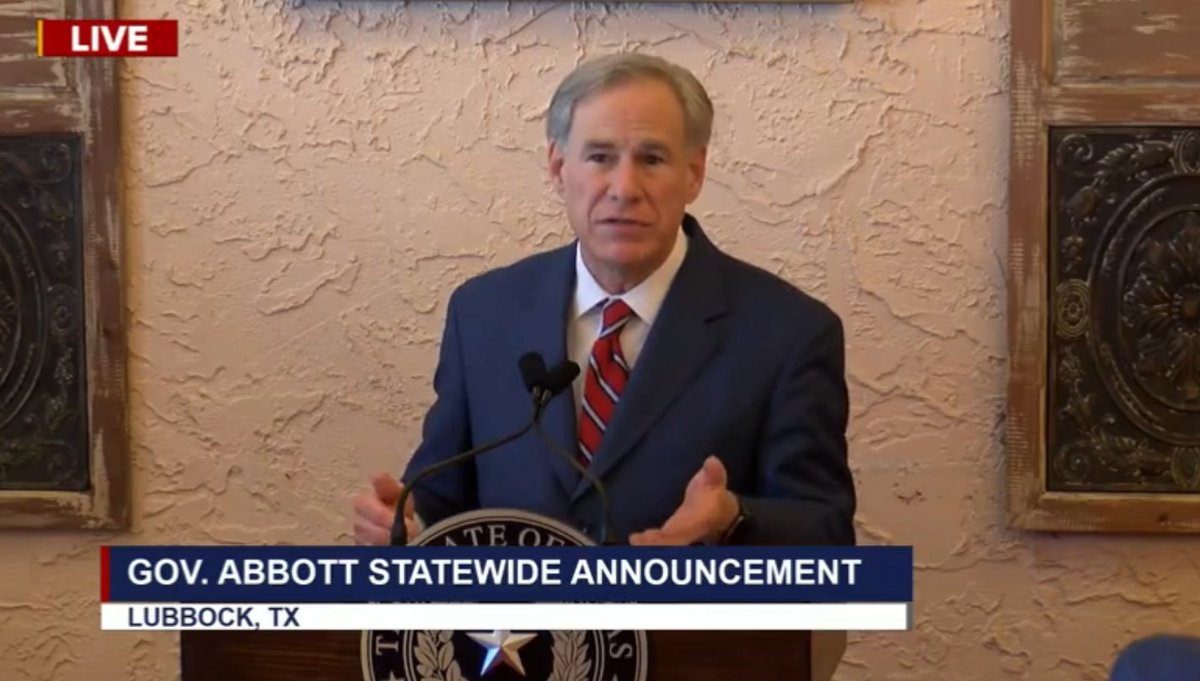 """BREAKING: Texas Governor Greg Abbott announces he is ending the statewide mask mandate and says all businesses can now open at 100% capacity. However, he stresses """"personal vigilance is still needed to contain covid"""" and we should """"continue following medical advice."""" https://t.co/jmfOBGM9xC"""