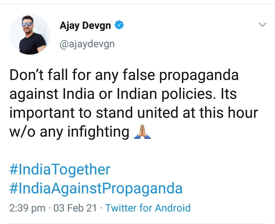If you can't stand together atleast don't be against @ajaydevgn #अजय_देवगन_कायर_है #FarmersProtests