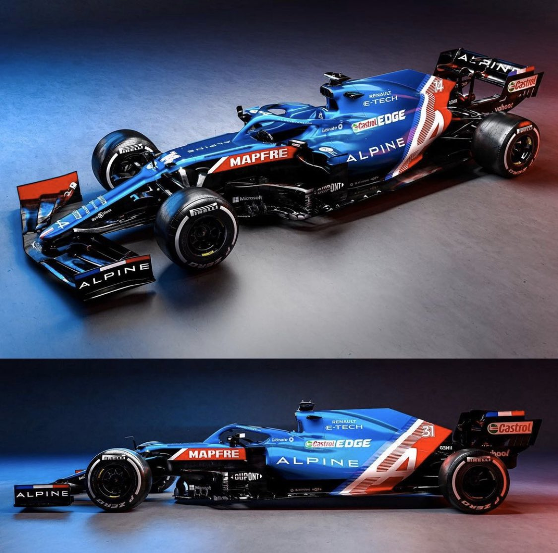 Beautiful 💙🤍❤️ Our final livery is out, can't wait to drive the A521 tomorrow at @SilverstoneUK 😎 @AlpineF1Team