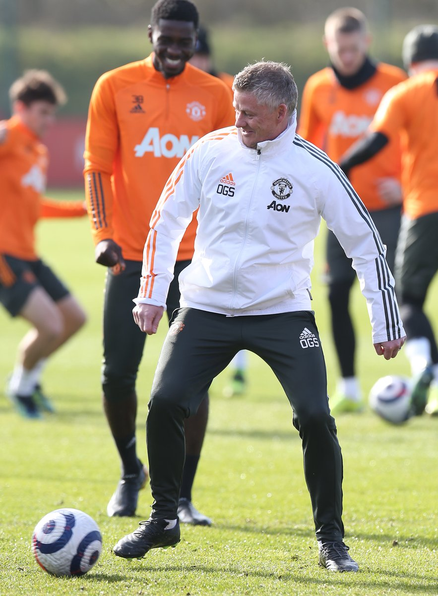Ole gets stuck in during the latest training session. #MUFC #GGMU