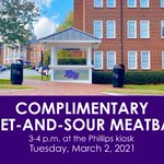 Sweet-and-sour meatballs are on at the Phillips kiosk today from 3-4 p.m., students! Be sure to stop by! 💜#HPU365