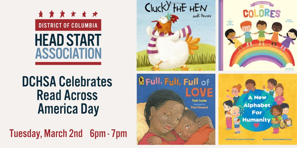 Happy #ReadAcrossAmericaDay! Celebrate w/ us tonight at 6pm through an interactive early learning activity for families in DC of children birth to 5. We'll read a book, sing songs, and have an art contest. Participants even get a free children's book!