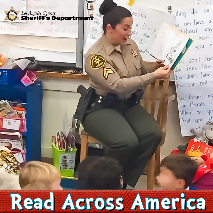 Reading to your children not only helps with their development, but also provides them the opportunity to build lasting connections. Detective Amber Leist (EOW 01/12/2020), shown here, demonstrated just that by reading to a classroom of students. #ReadAcrossAmericaDay @WHDLASD