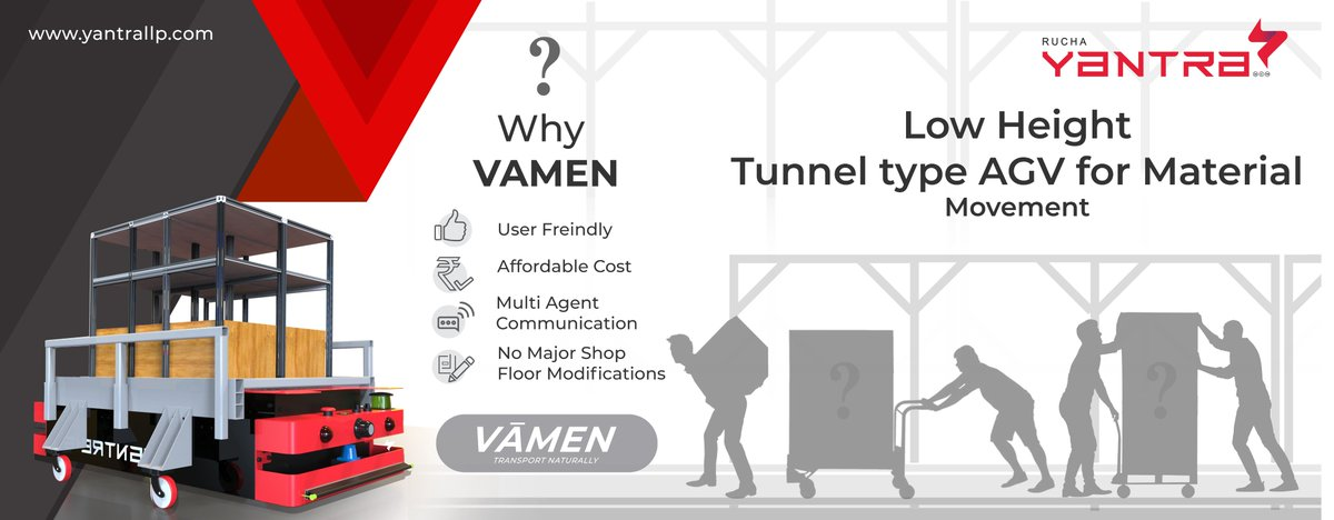 Why #VAMEN, you asked! Well here is the answer. It is extremely low in height, user friendly and very affordable. Another plus point is we can customize it according to your requirement including the navigation technique.   #ruchayantrallp #robotics #MakeInIndia #AUTOMATION