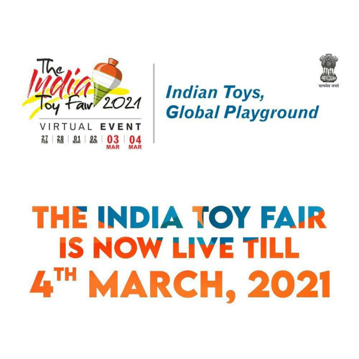 We were about to say goodbye, but then your love stopped us! On popular demand, #TheIndiaToyFair 2021 has been extended till 4th March 2021! Join the toy adventure, visit  now! #Vocal4LocalToys