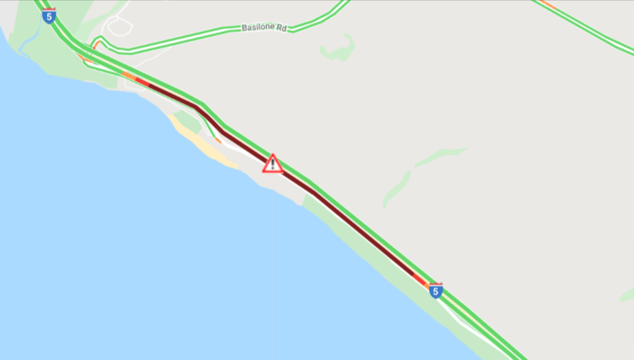 An accident has occurred on Southbound I-5 near Basilone Road. Stay alert and slow down in the area.