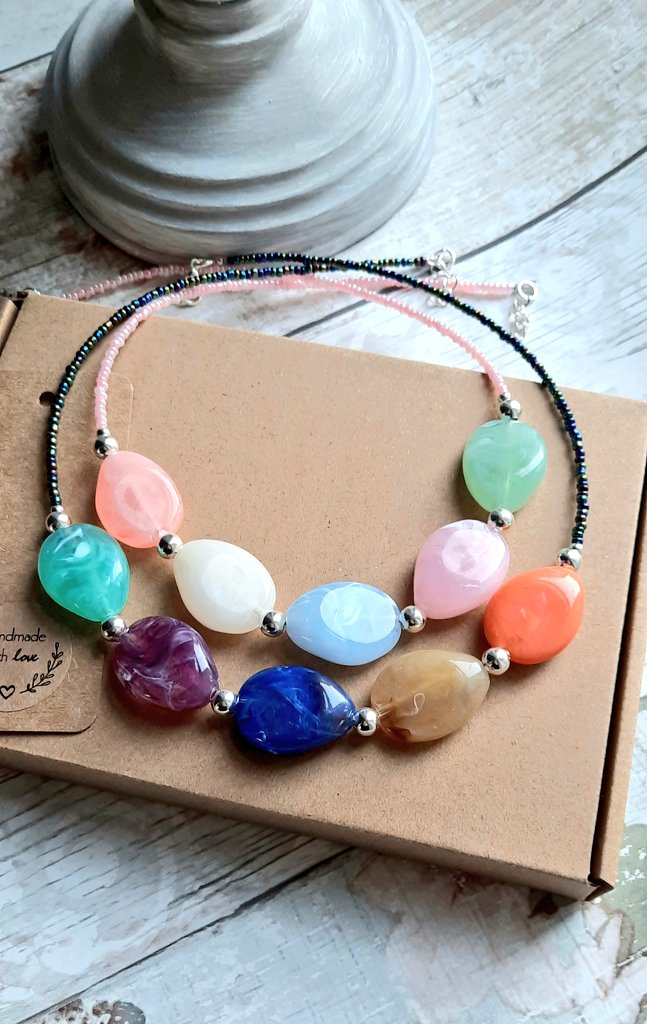 Gorgeous Pebble Style Beaded Necklaces in a choice of bold or pastel colours.   #new #necklace #acrylicnecklace #strikingcolours #handmade #shopsmallbiz #freepostage #etsy