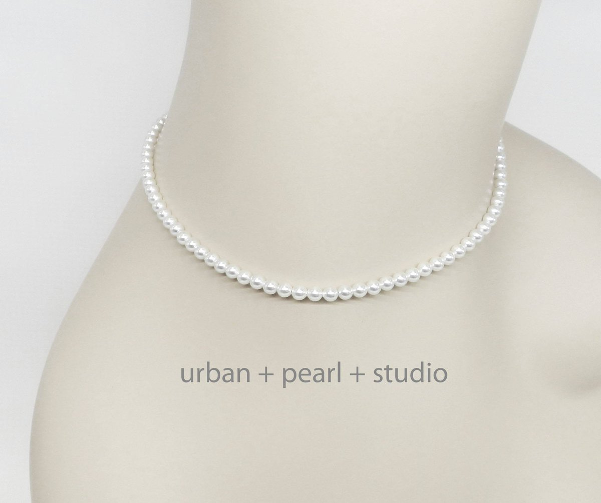 Small Pearl Necklace Tiny Pearl Choker Necklace 14 In or 16 In Little Swarovski Pearl Choker  #lovejewelry #giftsforher #pearlnecklace #handmadejewelry #etsy #handmade