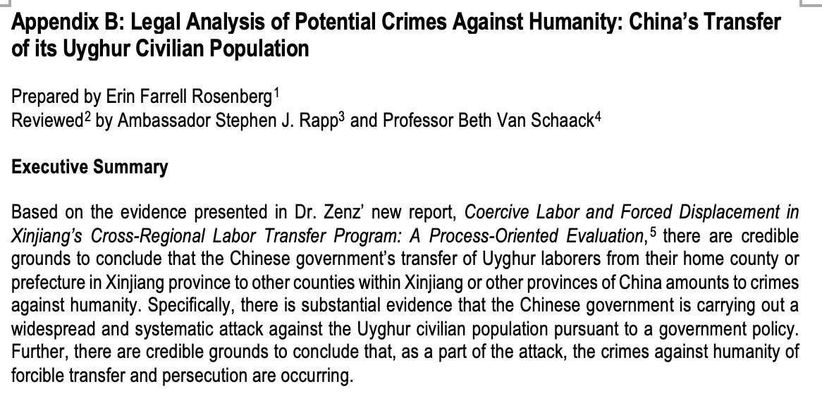 Based on this stunning admission & other new evidence, a peer-reviewed legal analysis compiled based on my report concludes that Xinjiang's labor transfers meet the criteria for the Crime Against Humanity of Forcible Transfer according to the ICC's Rome Statute. /10