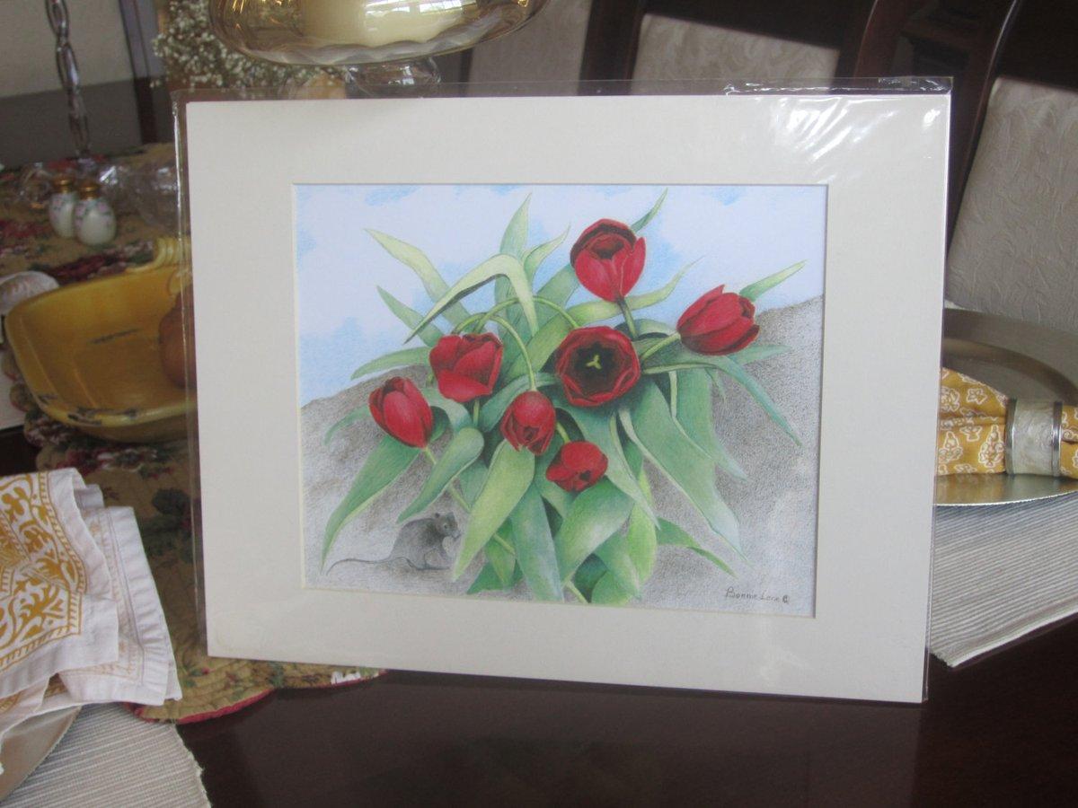 Tulip Mouse House - Matted Laser Copy of Original Artwork  #Handmade #fineartforsale #TMTinsta #EtsyTeamUNITY #Whimsical