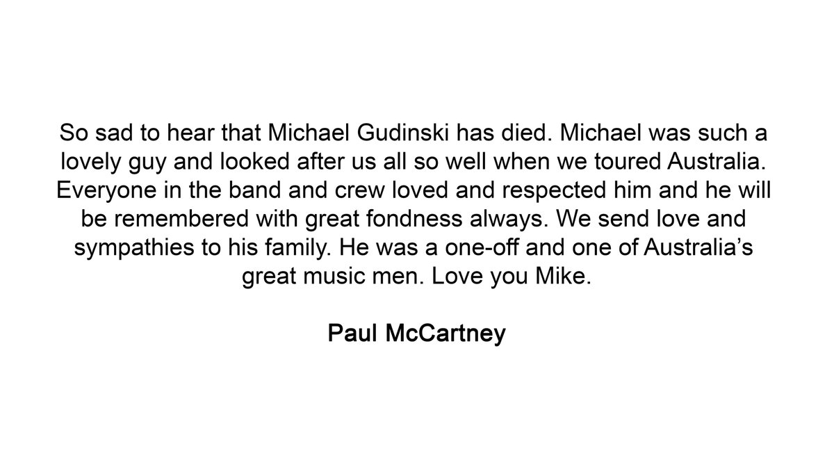Paul on the sad passing of Michael Gudinski.