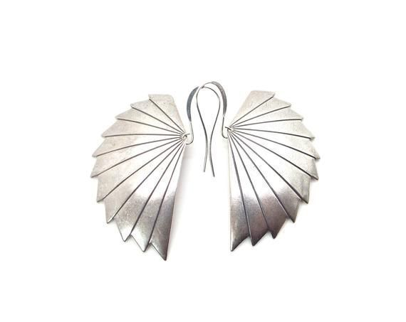 Stylish Silver Art Deco Curved Spiral Earrings by #DesignedbyAudrey Great women's #handmade jewelry and accessories  via @Etsy