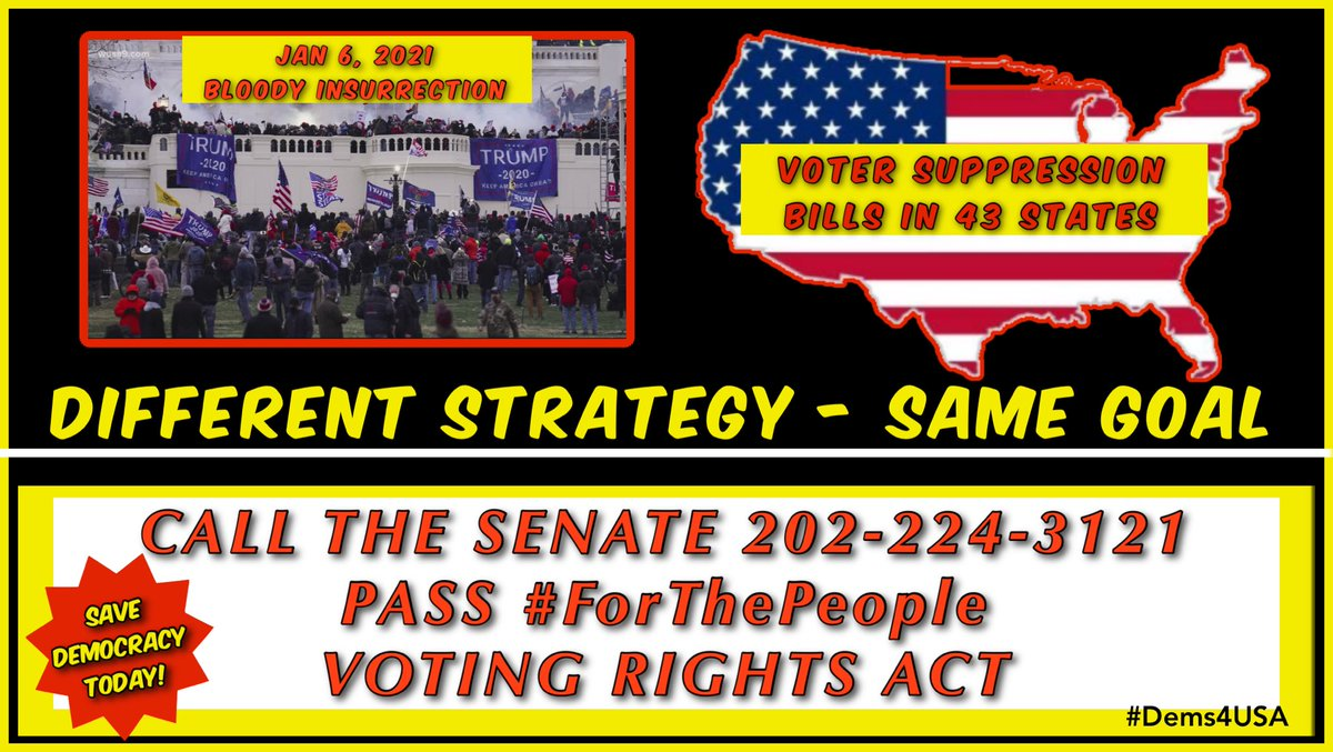 @JudiciaryDems @lizzard315 CALL THE SENATE. SUPPORT #ForThePeopleAct  202-224-3121  CALL TODAY! Save our Democracy from organized voter suppression.  #Dems4USA