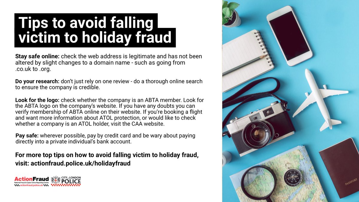 Think twice before handing over your money and personal information when booking holidays this year.  For tips on how to avoid falling victim to holiday and travel related fraud, visit: https://t.co/jdYchhKwp8 https://t.co/iJEa1O7qbb