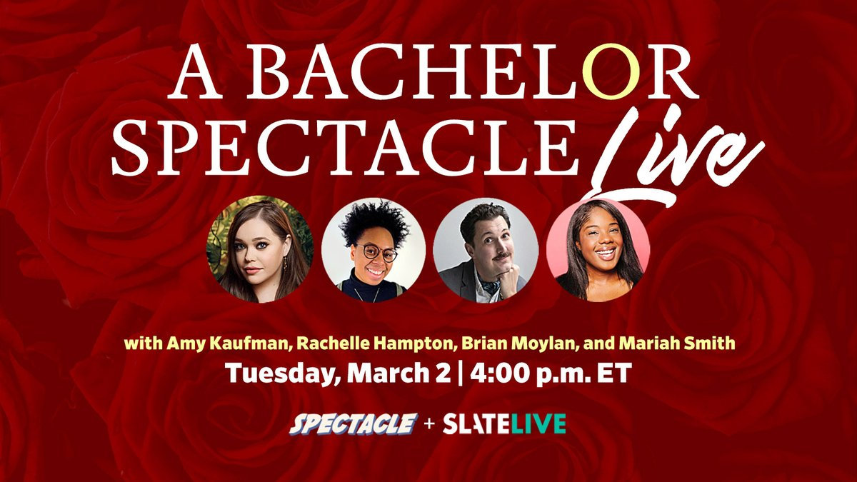 🌹TODAY🌹@Spectacle_Pod host @mRiah goes live w/ @heyydnae @brianjmoylan @AmyKinLA for a deep dive into all the fun and drama surrounding #BachelorNation! 4pmET/1pmPT on @slate Facebook and YouTube and even a chance to win a @wevibe product too!