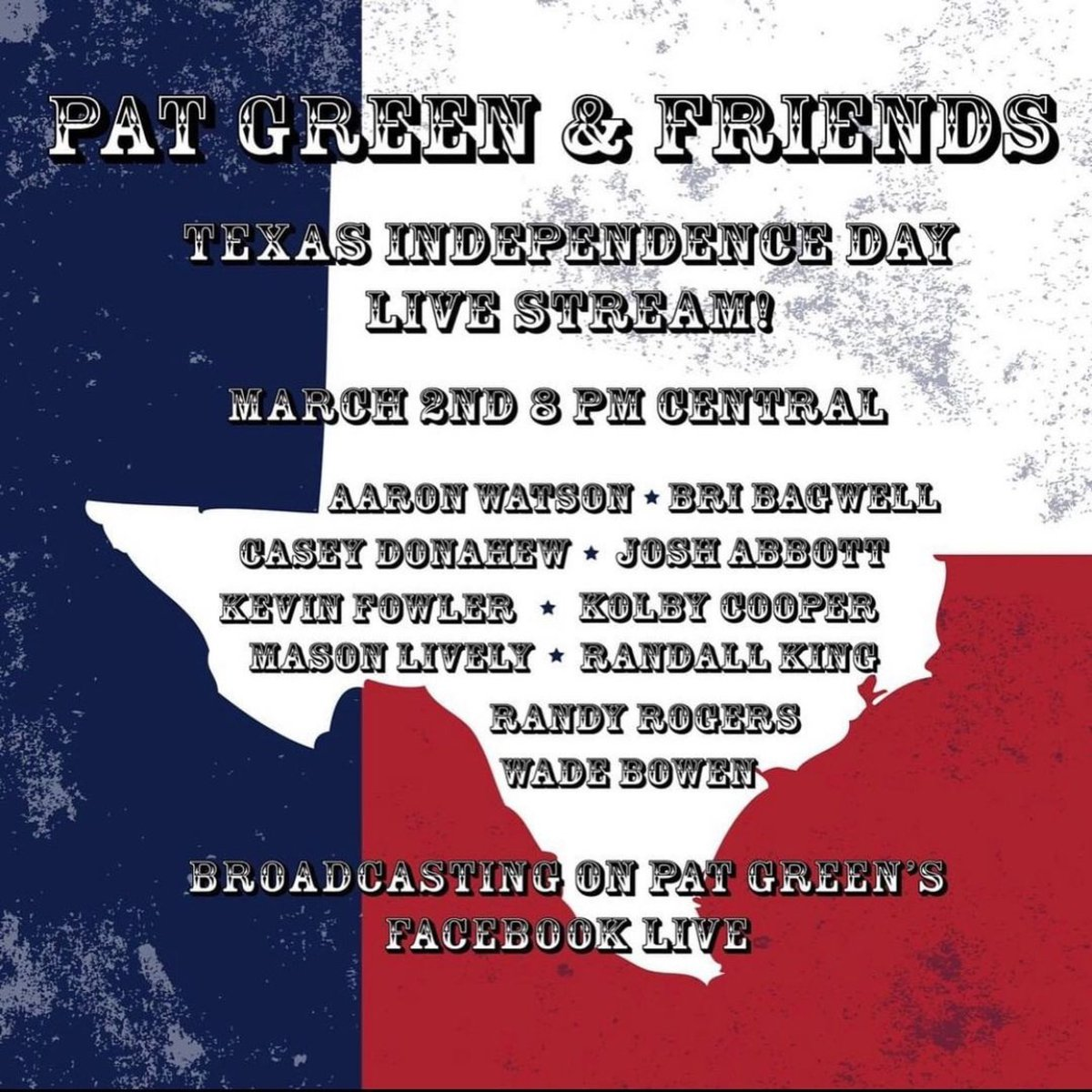 This is happening today. Honored to be a part of this lineup!! Like, holy smokes right?? #texasindependenceday #patgreen #texascountry 8pm @PATGREENMUSIC @aaron_watson @randyrogersband @WadeBowen @RandallKingBand @KevinFowler @caseydband @KolbyCooper_ @MasonLively @joshabbottband