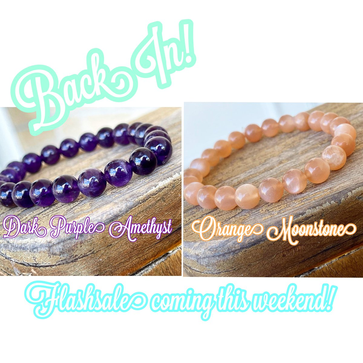 Back in Stock! The Coveted Deep Purple Amethyst and Orange Moonstone! There will also be a Flashsale coming this weekend!   #orange #giftideas #jewelry #ShopSmall #handmade #smallbusinessowner #sale #crystals #moonlight #amethyst