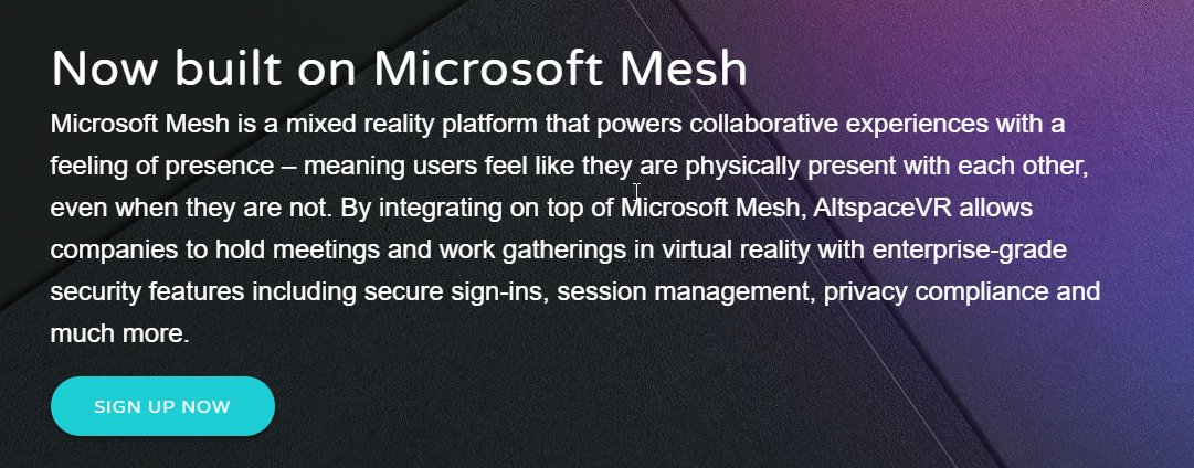 oh HEY!  This is why #MSIgnite is on @AltspaceVR - it's actually now built on #MicrosoftMesh!