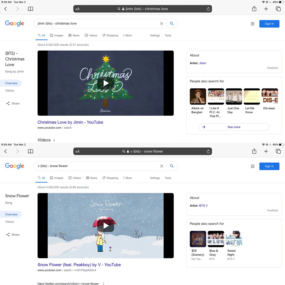 March 2 2021 Still No song Credit when google searching😡 Sweet Night, Winter Bear, Scenery  also no song credit Snow Flower vs X-mas Love  #RespectTaehyung  #BTSV #KimTaehyung  #SweetNight #WinterBear #Scenery #SnowFlowerByV  @BigHitEnt @Google