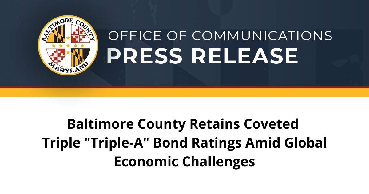 Baltimore County is proud to have maintained the highest possible financial ratings, even in the midst of significant economic disruption caused by COVID-19.   These ratings affirm our administration's responsible fiscal management and resilient local economy.