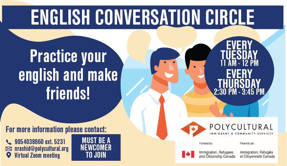 Do you want to #practice your #English skills and make #friends? Join us every Tuesday and Thursday by calling 905-403-8860 ext. 5231 or email nrashid@polycultural.org   #ESL #EnglishClass #Language #LanguageClass