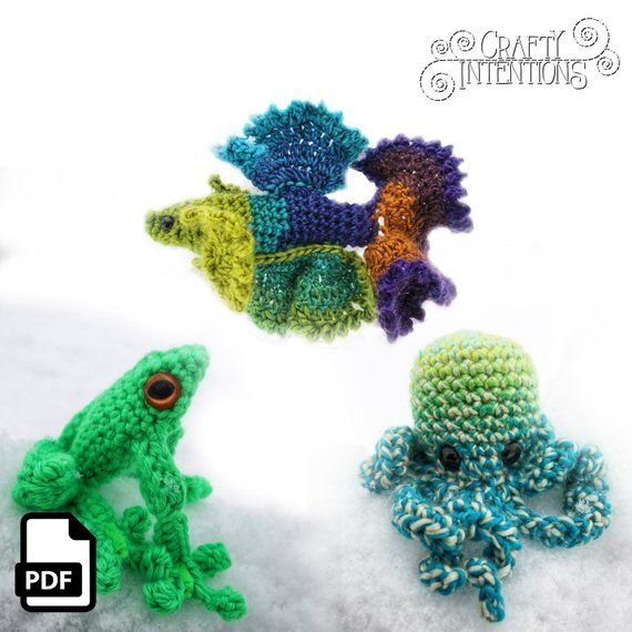 Crochet a Betta Fish, Frog, and Octopus With This Amigurumi Set By Crafty Intentions: 👉  🐠🐟 #crochet #handmade #diy #amigurumi by @craftyintentions